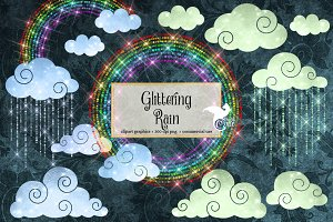 Glittering Rain and Rainbows Clipart