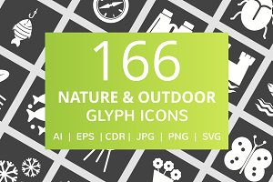166 Nature & Outdoor Glyph Icons