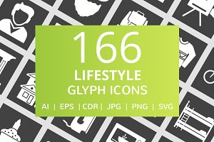 166 Lifestyle Glyph Inverted Icons