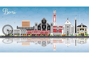 Bari Italy City Skyline with Gray