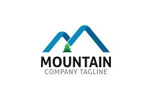 Mountain M Letter Logo Template