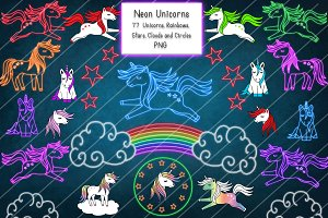 Neon Unicorns, Stars and Rainbows