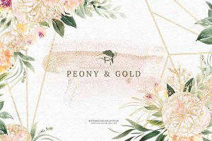 Watercolor Peony & Gold