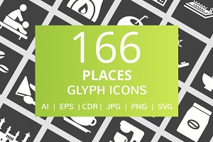 166 Places Glyph Inverted Icons