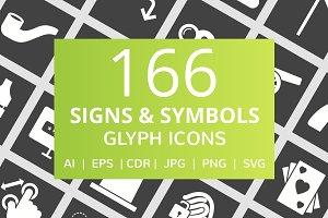 166 Signs & Symbols Glyph Icons