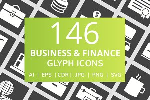 146 Business & Finance Glyph Icons