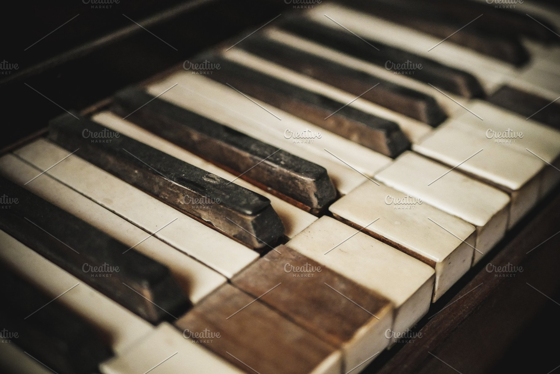 Vintage Damaged Piano Keys #1