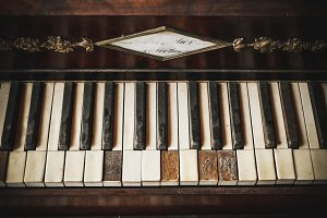 Vintage Damaged Piano Keys #3