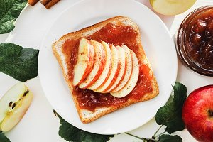 Toast with a apple jam.