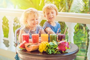 Children drink colorful healthy