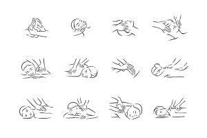 Massage illustrations set