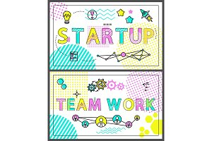 Start Up and Team Work Banners with