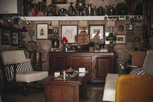 Cluttered Mediterranean Lounge Room