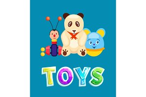 Toys Poster with Items Set Vector