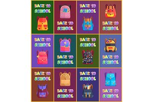 Back to School Bags of Pupils Vector