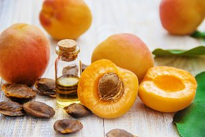 apricot oil in a small jar. selectiv