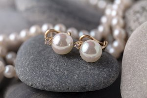 Pearls a necklace on stone