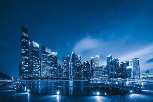 Downtown Singapore city in Marina Ba