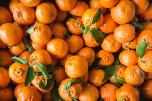 Tangerines on a market
