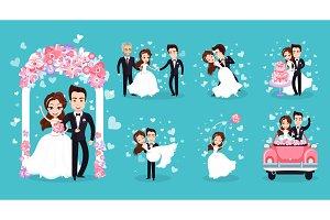 Wedding Couple Isolated on Bright