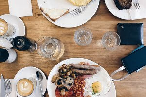 Saturday morning brunch in a café