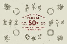50+ Hand Drawn Floral Logo & Badges by  in Logos