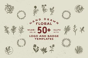 50+ Hand Drawn Floral Logo & Badges