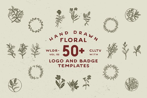Logo Templates: Wilder Collective - 50+ Hand Drawn Floral Logo & Badges