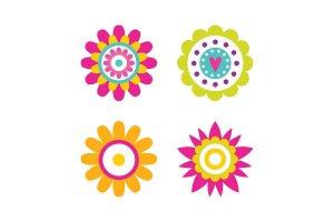 Geometric Shape Flowers Heart and
