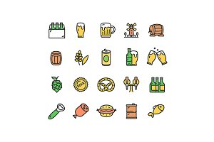 Beer and Oktoberfest Thin Line Icon