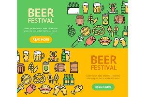Beer and Oktoberfest Banner Set.