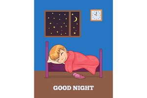 Good Night Poster with Girl Sleeping