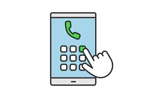 Hand dialing phone number color icon