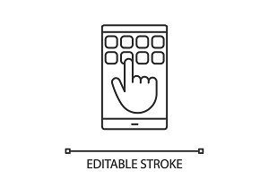 Smartphone touchscreen linear icon
