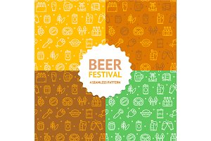 Beer and Oktoberfest Pattern Set