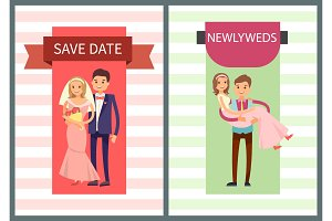 Save Date and Newlyweds Set Vector