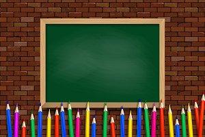 Colored pencils on school Boar