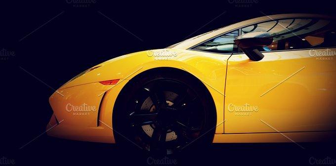 Modern fast car. Side view - Transportation