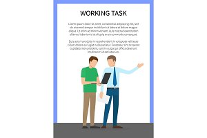Working Task Poster With Text Vector