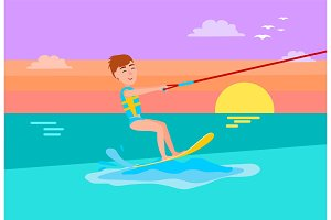 Kitesurfing Summer Sport Happy Boy