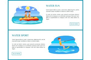 Water Sport Web Set with Text Vector