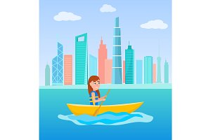 Kayaking Girl Sitting in Boat
