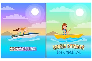 Summertime Boating Collection Vector