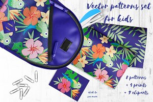 Cute parrots patterns set