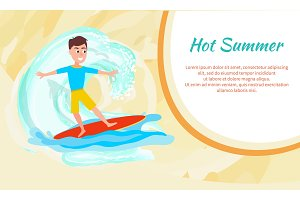 Hot Summer Poster with Surfing Boy