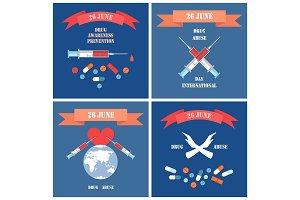 Drug Abuse Posters Syringes Blood