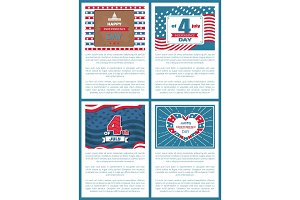 Set Patriotic US Posters 4th July