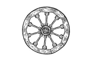 Cart old wooden wheel engraving