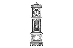 Floor clock with pendulum vector