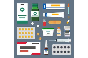 Medicines Set, Sharp Syringes and